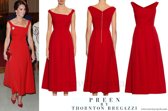 Kate Middleton wore PREEN BY THORNTON BREGAZZI Finella satin midi dress