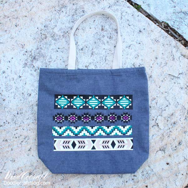 Tribal Tote Bag with Cricut Layered Iron-On Vinyl!