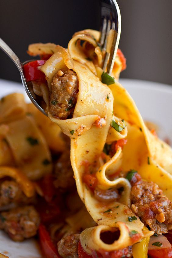 Saucy Italian Drunken Noodles with Spicy Italian Sausage