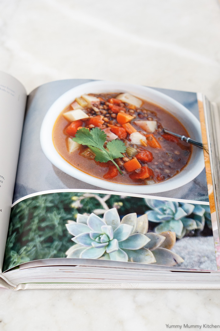 Beautiful cookbook photography and lentil soup recipe.