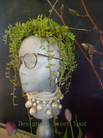 Side view garden head with succulents @designerssweetspot.com