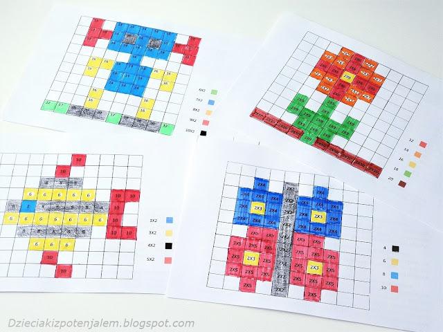 ćwiczenia w postaci dyktand graficznych utrwalające naukę mnożenia przez 2