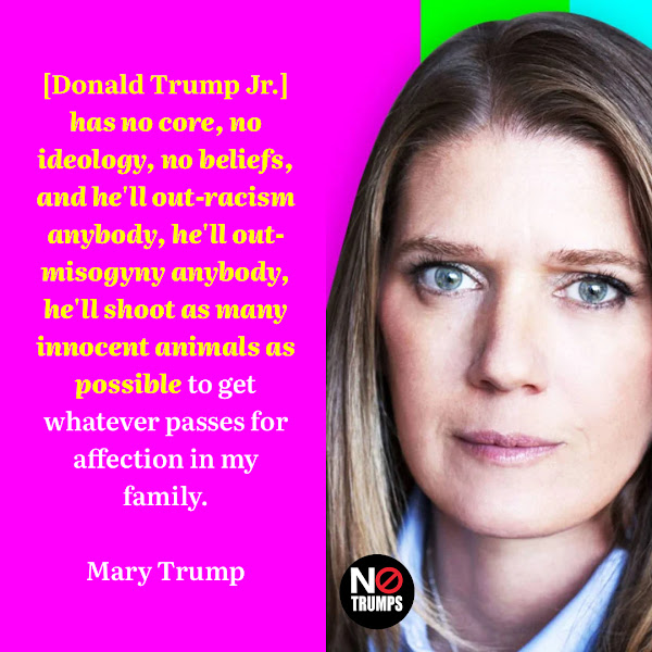 [Donald Trump Jr.] has no core, no ideology, no beliefs, and he'll out-racism anybody, he'll out-misogyny anybody, he'll shoot as many innocent animals as possible to get whatever passes for affection in my family. — Mary Trump