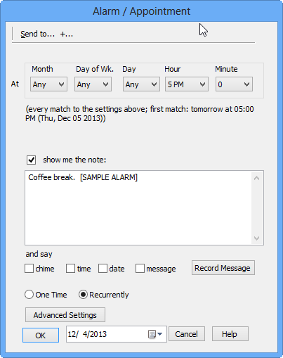 Alarm and Appointment setup dialog of YVR