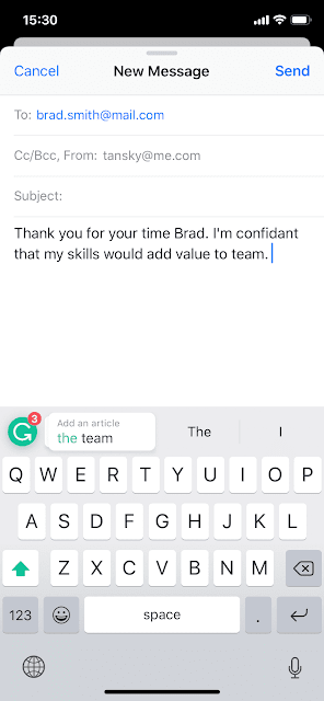 Screenshot of Grammarly on iOS.