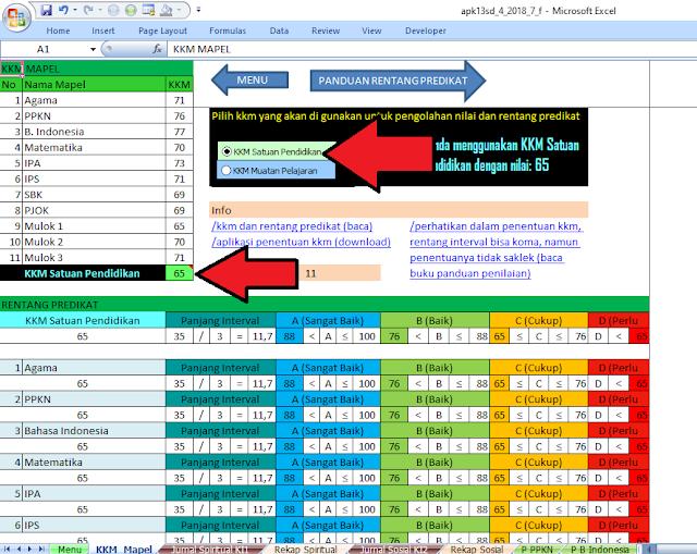 kkm rentang predikat pada aplikasi raport apk13sd
