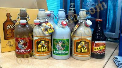 Hình ảnh thực tế: các loại bia Sứ ST.Sebastiaan của Nhà Sterkens với dung tích khác nhau