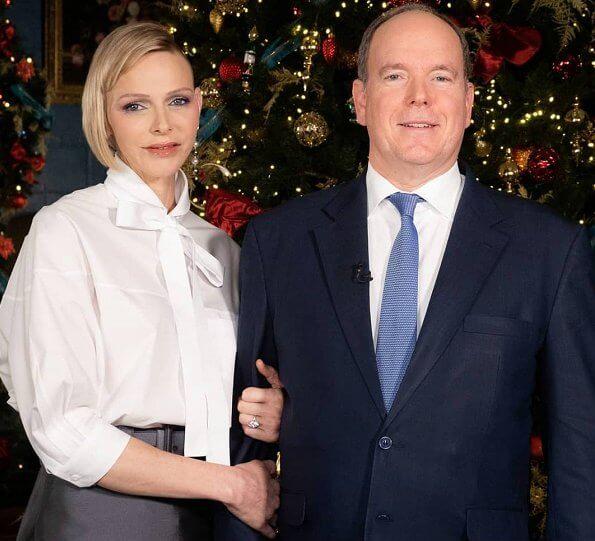 Princess Charlene wore a new white poplin tie-waist shirt from Prada. Princess Gabriella