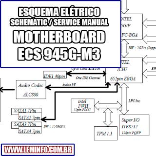 Esquema Elétrico Placa Mãe / Motherboard ECS 945G-M3 Manual de Serviço  Service Manual schematic Diagram Placa Mãe / Motherboard ECS 945G-M3    Esquematico Placa Mãe / Motherboard ECS 945G M3