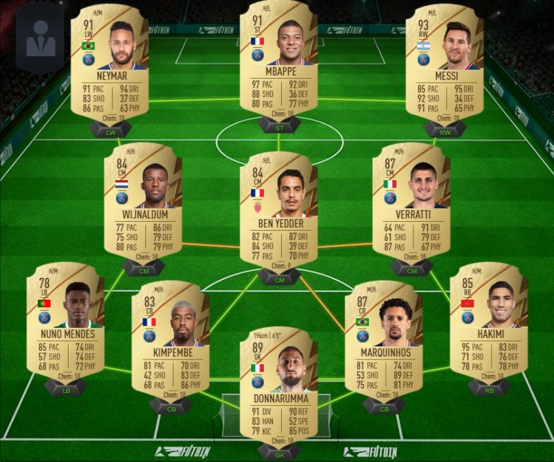 The Ultimate Ligue 1 team on FUT for the release of FIFA 22