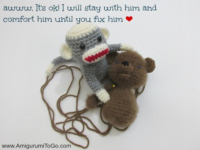 crochet monkey and bear