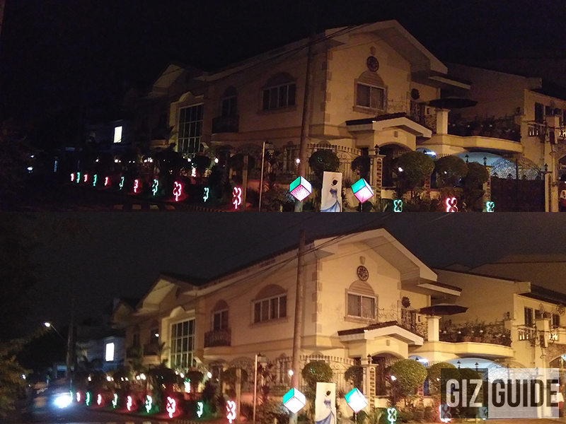 Normal vs manual mode (ISO 800, 1 sec shutter speed)