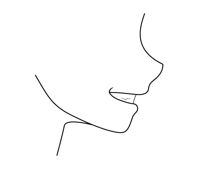 Menyengir melihat sisi mulut anime