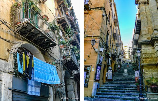 edifício no Centro Histórico de Palermo e uma rua de Agrigento