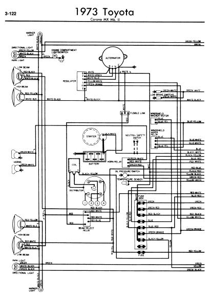 repair-manuals: Toyota Corona MX MkII 1973 Wiring Diagrams