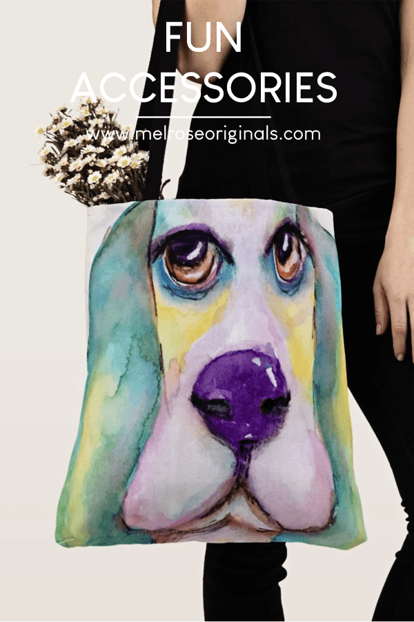 colorful watercolor basset hound tote bag product image