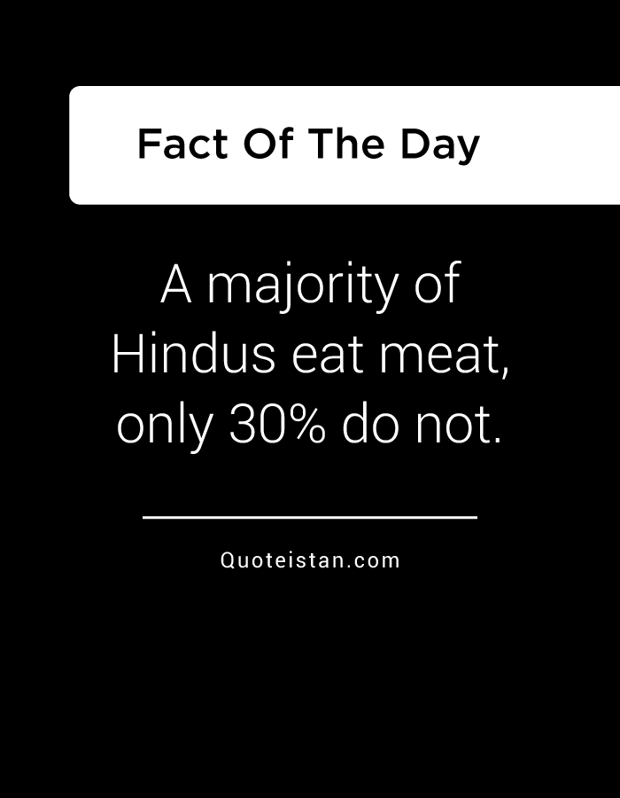 A majority of Hindus eat meat, only 30% do not.