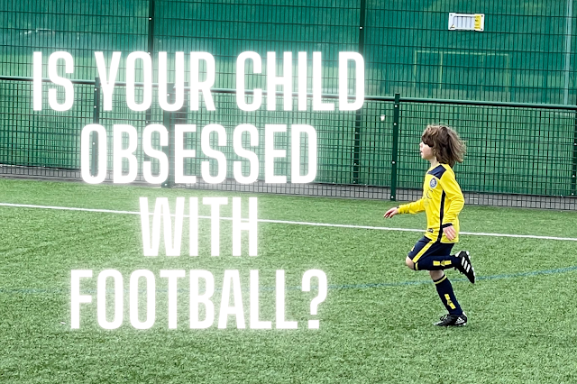 child playing football with text is your child obsessed with football