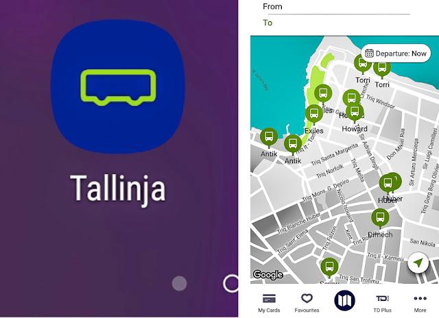Aplicativo com planejador de rotas do transporte público de Malta