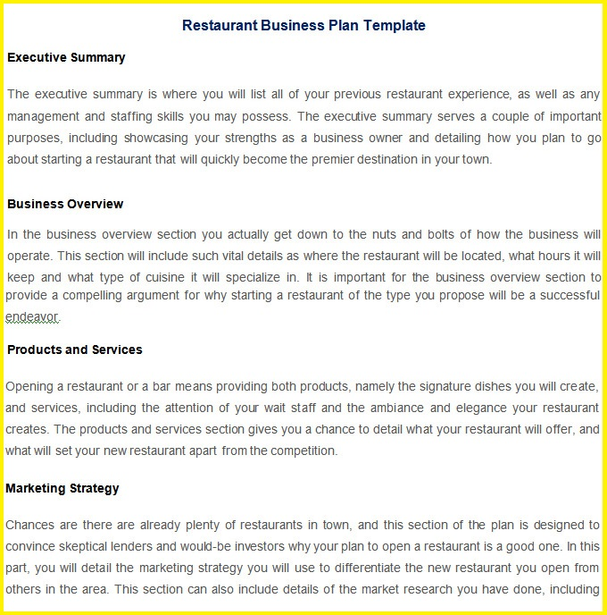 Restaurant Business Plan Template  Resume Business Template