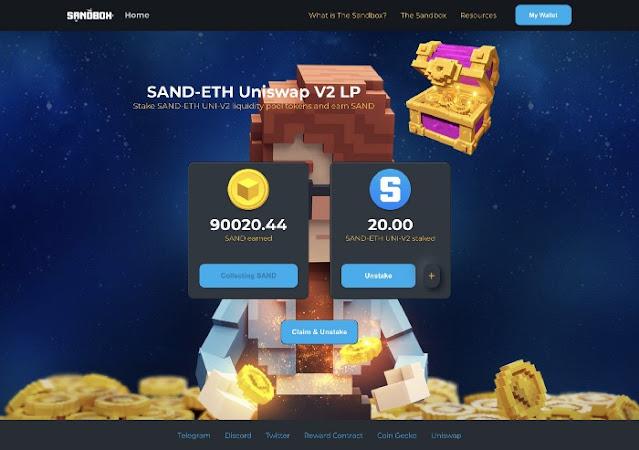 nhận SAND miễn phí từ SAND Staking