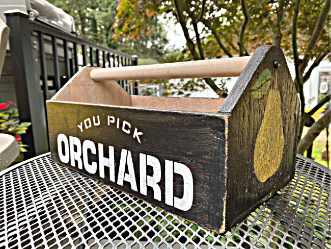 wooden crate with pear and orchard stencil