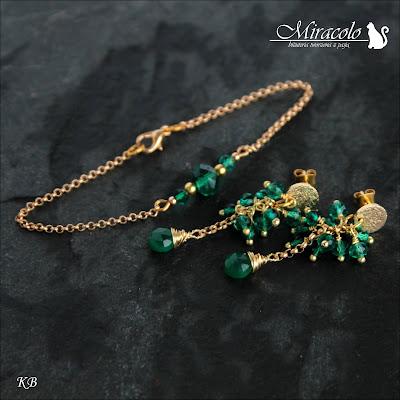 Miracolo, kolczyki z zielonymi onyksami, bransoletka z zielonymi kwarcami, green onyx earrings, wire wrapping