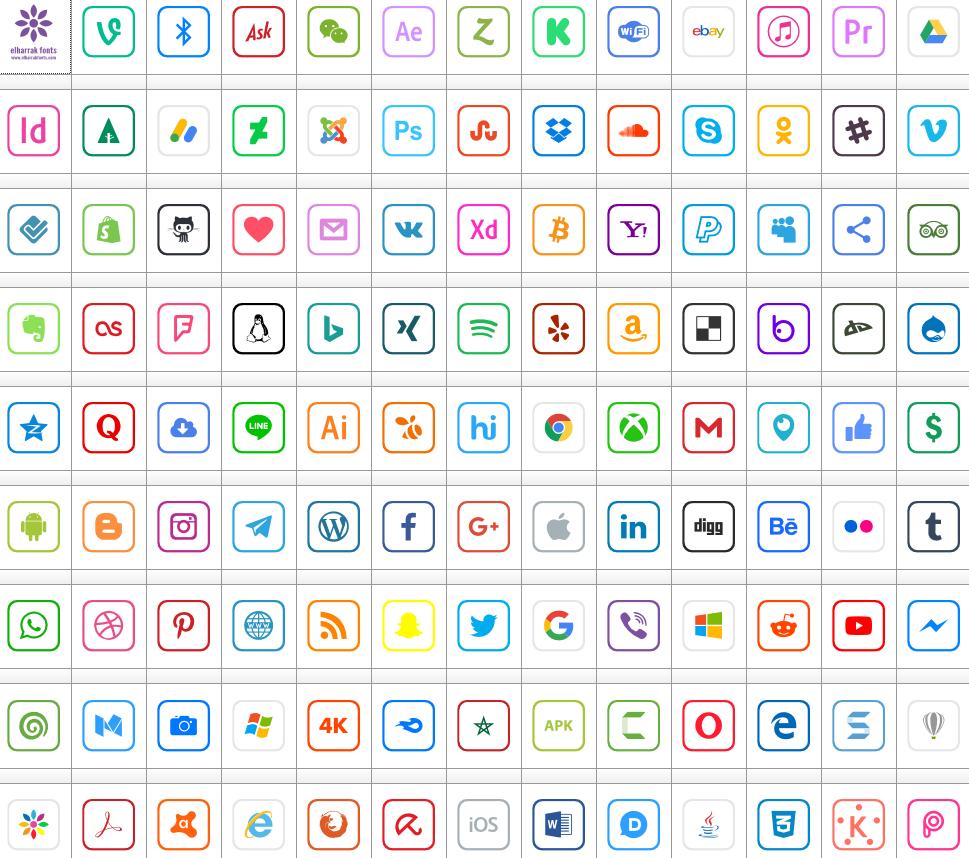 Download Font Icons 2019 Color font ttf otf 120 icons elharrak fonts 2019