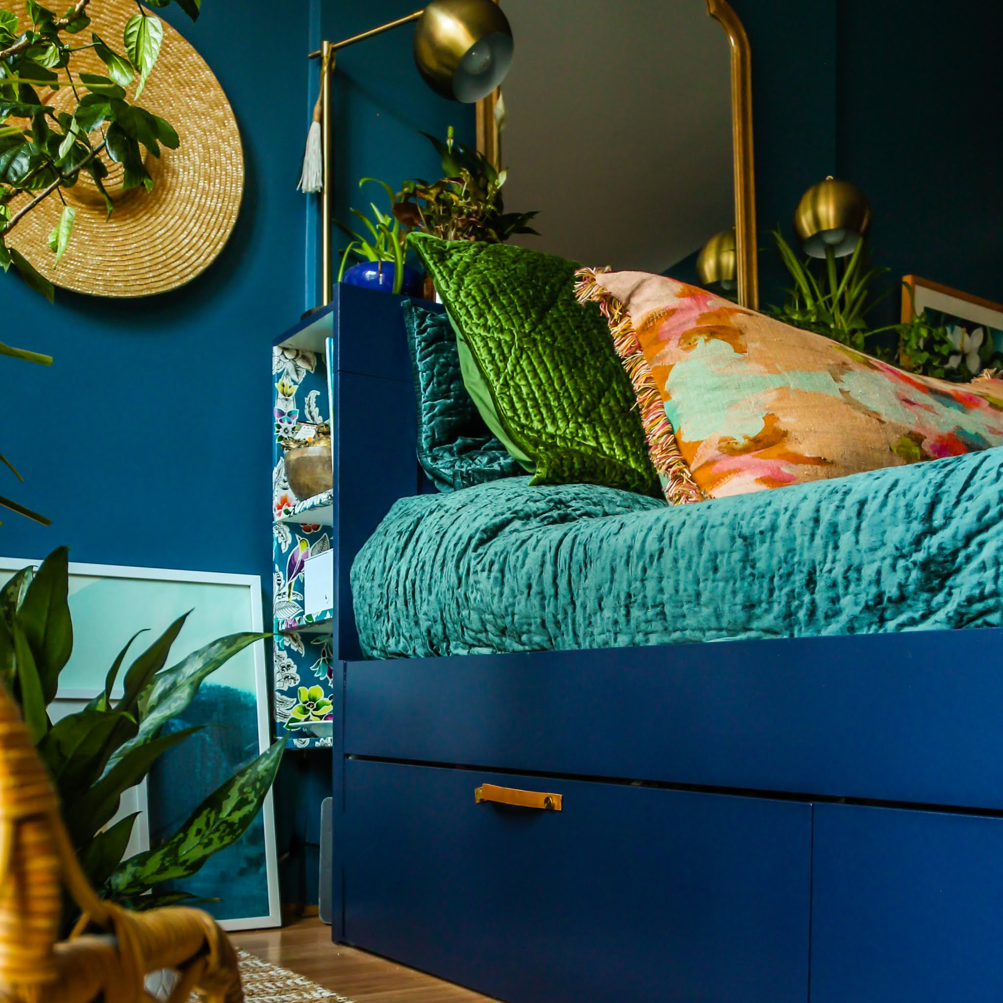 Blue bedroom // ikea brimnes // Clare paint deep dive // clare paint goodnight moon // Annie Selke bedding // jewel tone bedroom // colorful bedroom // moody bedrooms