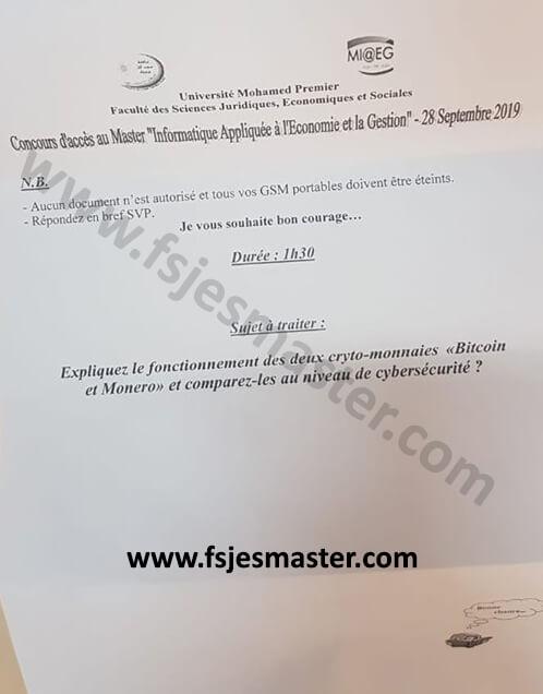 Exemple de Concours Master Informatique Appliquée à l'Economie et la Gestion (IAEG) 2019-2020 - Fsjes Oujda
