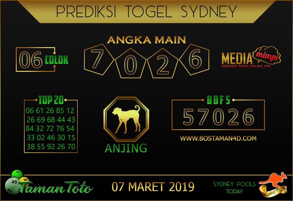 Prediksi Togel SYDNEY TAMAN TOTO 07 MARET 2019