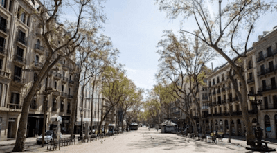 Impact of coronavirus in La Rambla in Barcelona and cities of the world