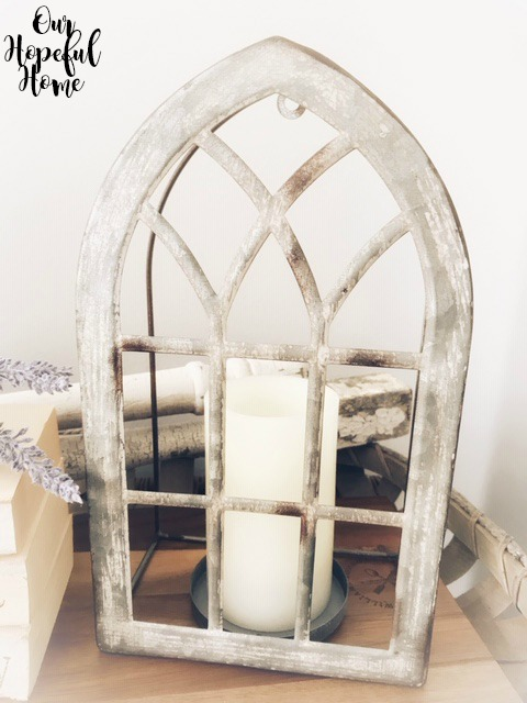metal vintage arch window tabletop decor candle holder
