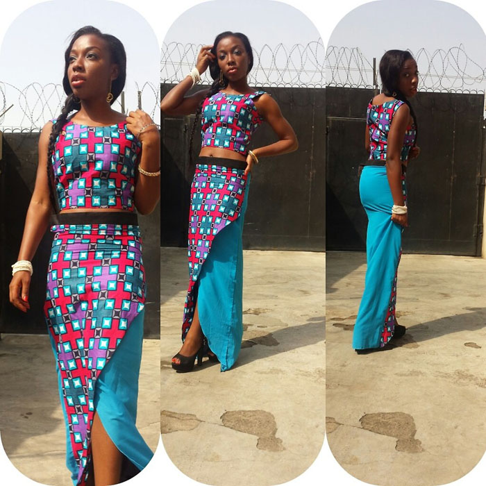 Ankara Crop Top And High Waist Skirt (2)