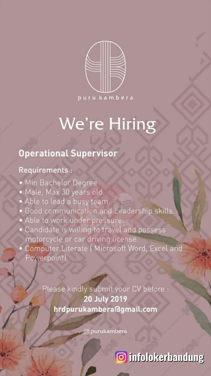 Lowongan Kerja Operational Supervisor Puru Kambera Bandung Juli 2019