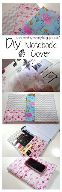 Book Cover Sewing Tutorial : Diy note book cover with pockets sewing tutorial