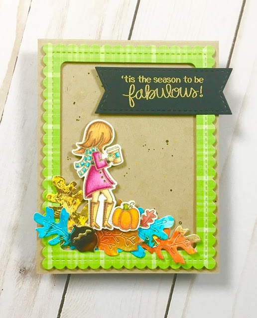 'Tis the Season to be Fabulous Card by September Guest Designer Stephanie Davis | Pumpkin Latte Stamp Set and Autumn Leaves Die Set by Newton's Nook Designs #newtonsnook #handmade