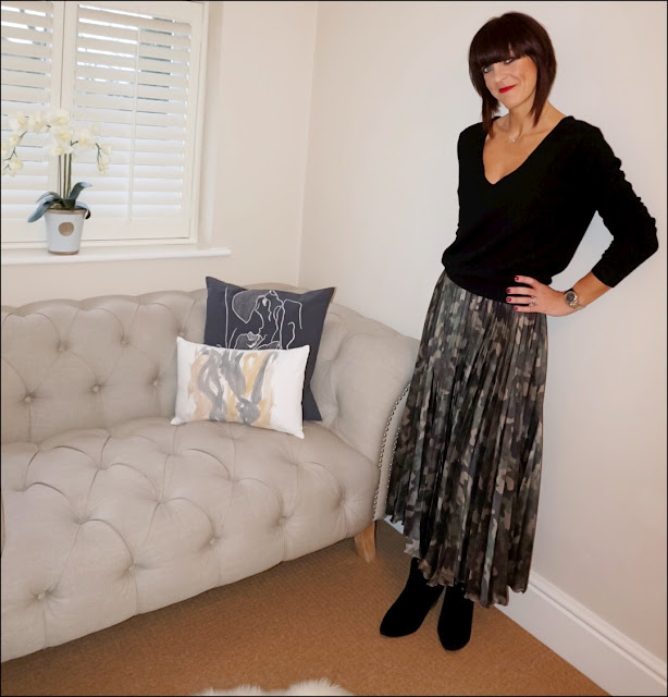 My Midlife Fashion, HM V Neck cashmere jumper, asos pleated skirt in satin camp, mango block heel ankle boots