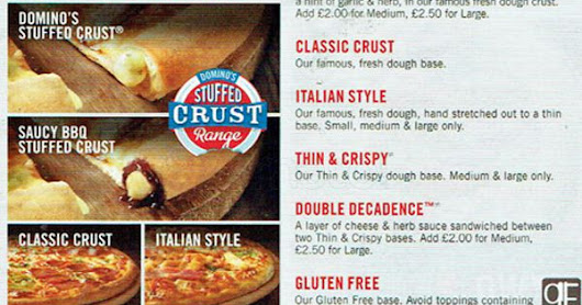 Domino's Pizza Menu With Price List And Pictures In Uk 2016