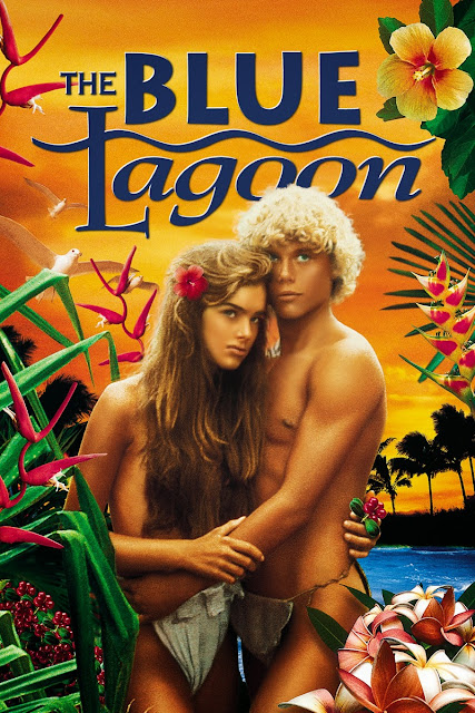 "Cartaz (poster) do filme ""A Lagoa Azul"" (The Blue Lagoon) em 1980."