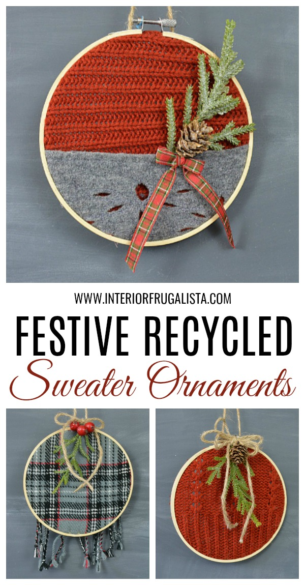 3 Festive Recycled Sweater Ornaments
