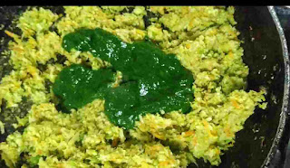 Spinach puree in sauteed hara bhara kabab mixture