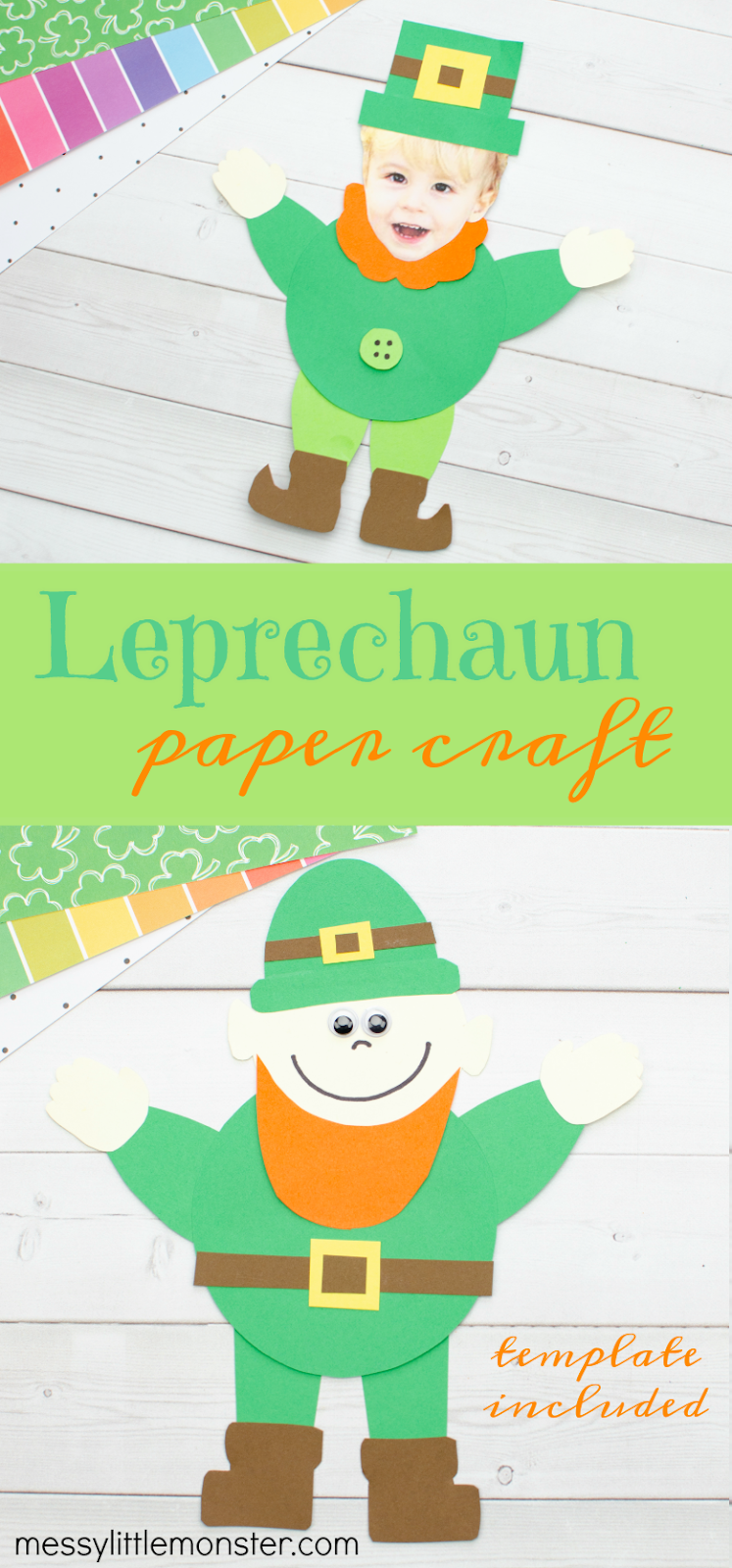 Paper Leprechaun Craft for kids. Printable leprechaun template to make a mix and match St Patricks Day craft for kids.