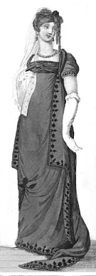 Mourning full or opera dress  from La Belle Assemblée (1806)