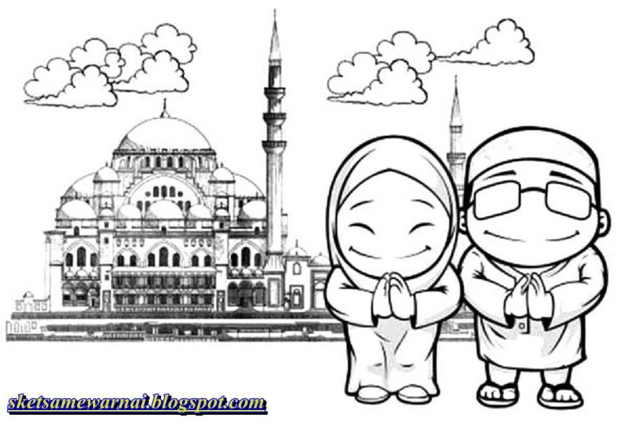 Sketsa Mewarnai Gambar Anak Islami Sketsa Mewarnai