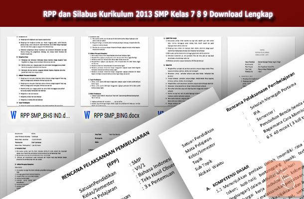 RPP dan Silabus Kurikulum 2013 SMP Kelas 7 8 9 Download Revisi Lengkap
