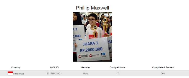 Profile akun WCA dari Phillip Maxwell yang berada pada peringkat 2 menyelesaikan rubik dengan tutup mata