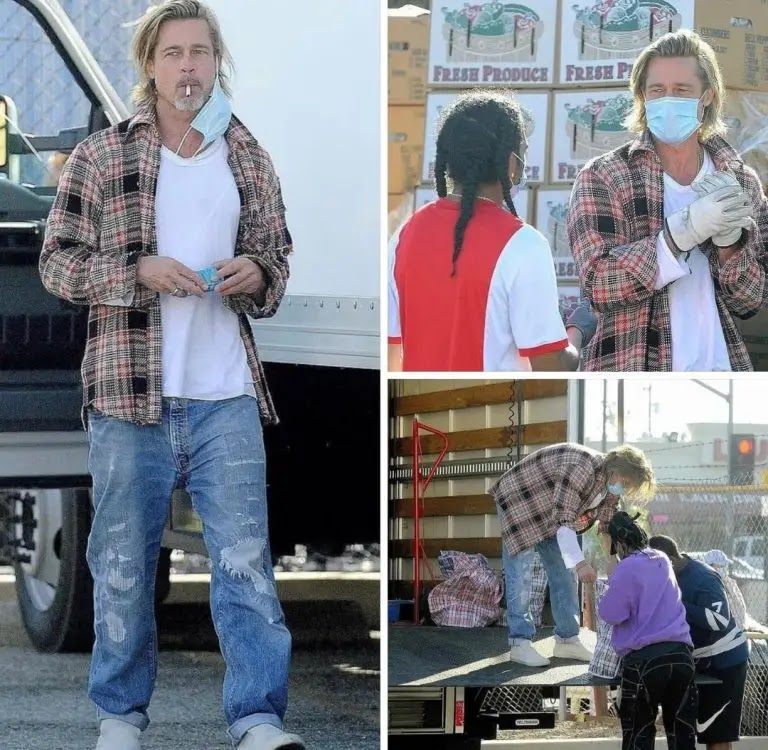 Pictures showing American artist Brad Pitt distributing food to families