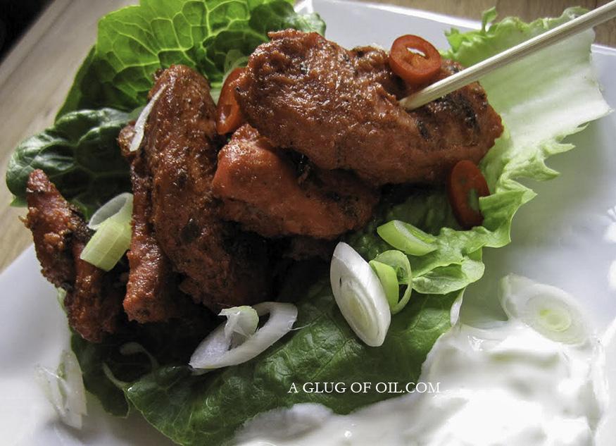 Tandoori Chicken Skewers on lettuce
