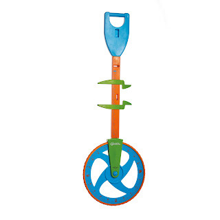 A blue orange and green trundle wheel measuring device with calipers on the upright bit